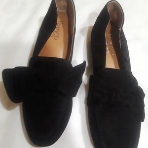 """Franco Sarto Suede Black Flat 1"""" Heel Size 7"""